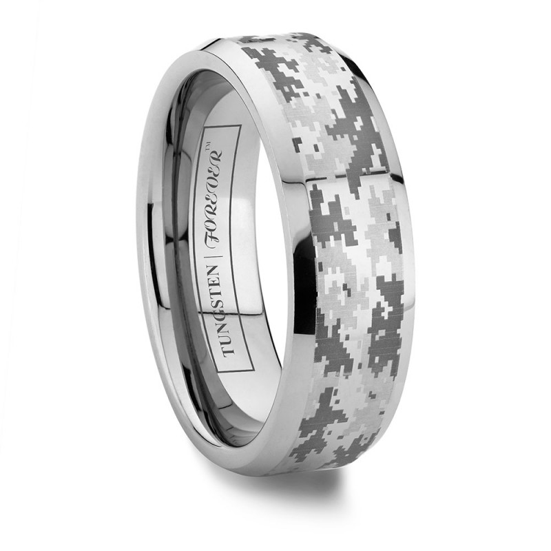 beveled digital camouflage wedding band - Camouflage Wedding Rings