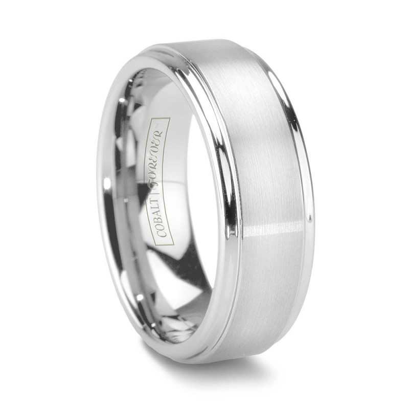 6mm 8mm Polished Stepped Edge Brushed Cobalt Wedding Band