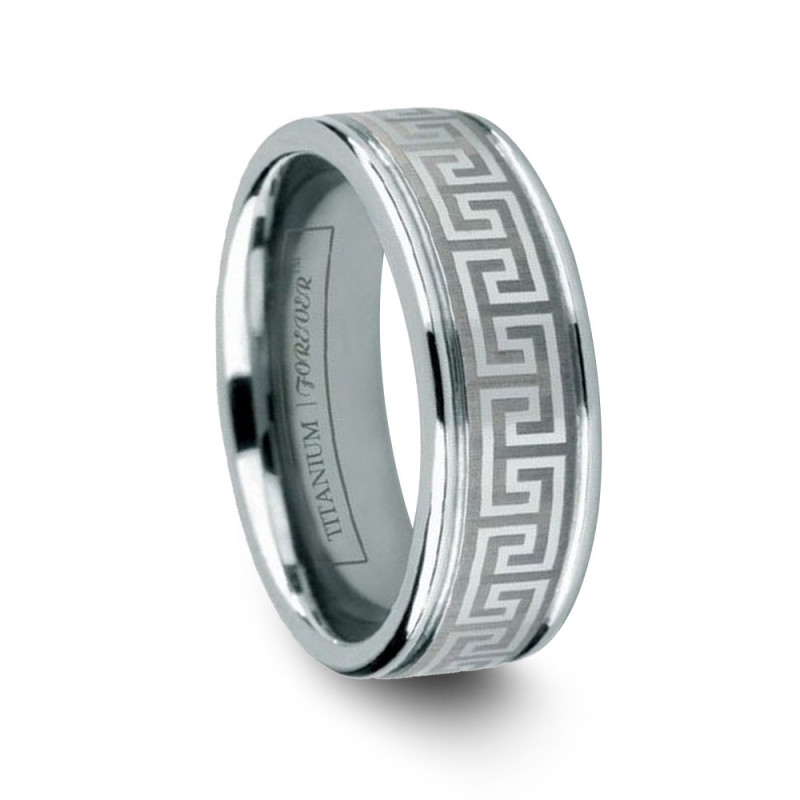 mens titanium wedding band greek meander pattern - Titanium Wedding Rings
