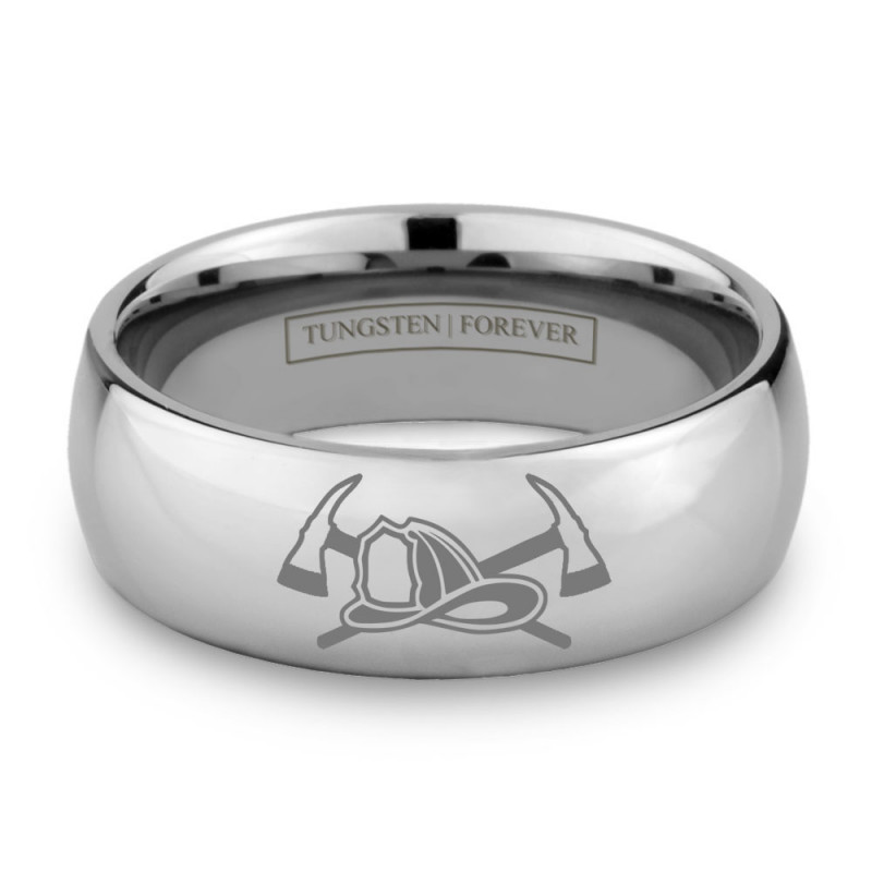 fireman ring 6mm 8mm - Firefighter Wedding Rings
