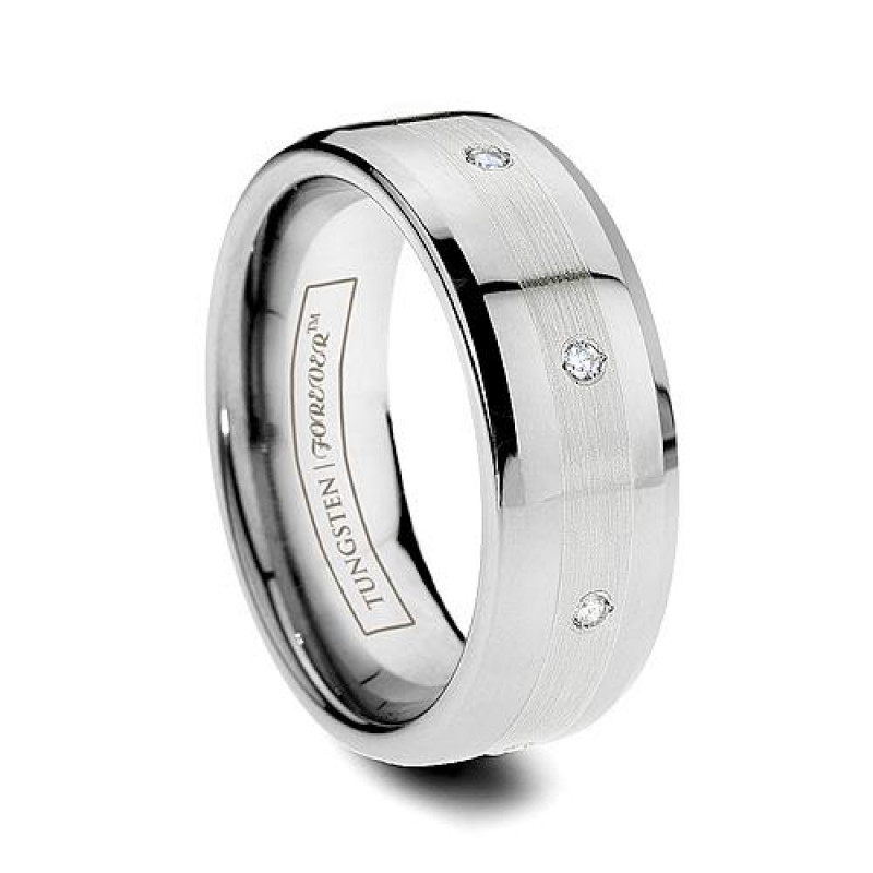 6mm 8 Stone Platinum Inlay Diamond Tungsten Wedding Band