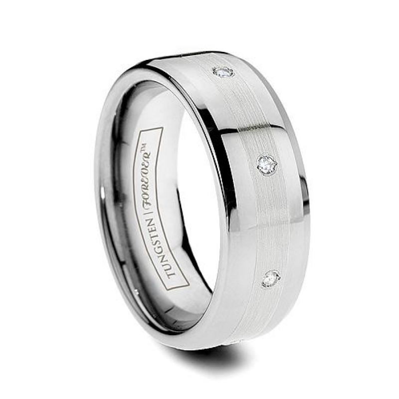 6mm 8mm Beveled 8Diamond Platinum Inlay Tungsten Wedding Band