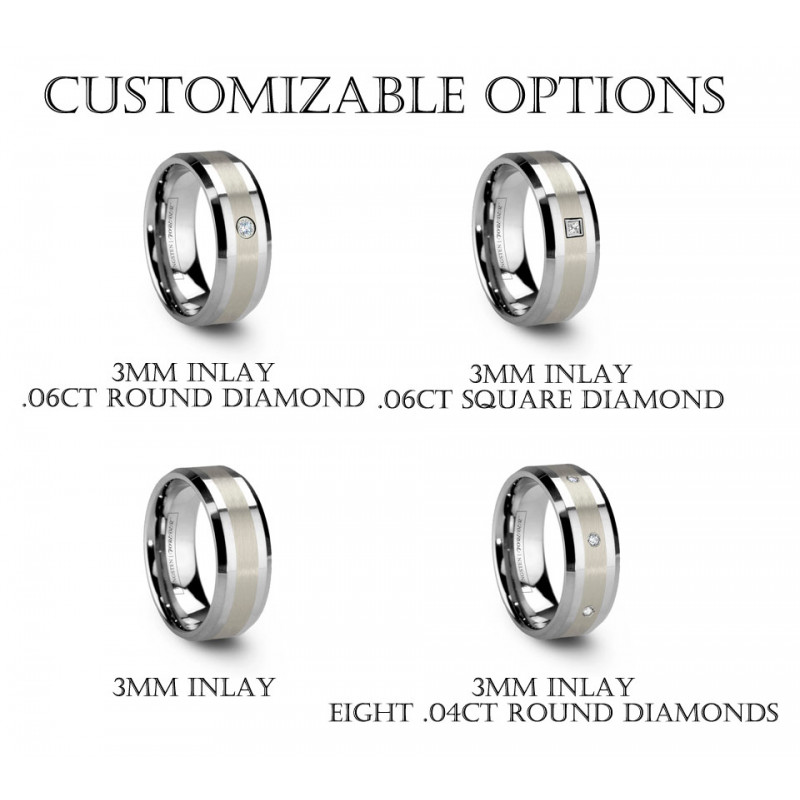 6mm 8mm Platinum Tungsten Carbide Rings With Beveled Edge