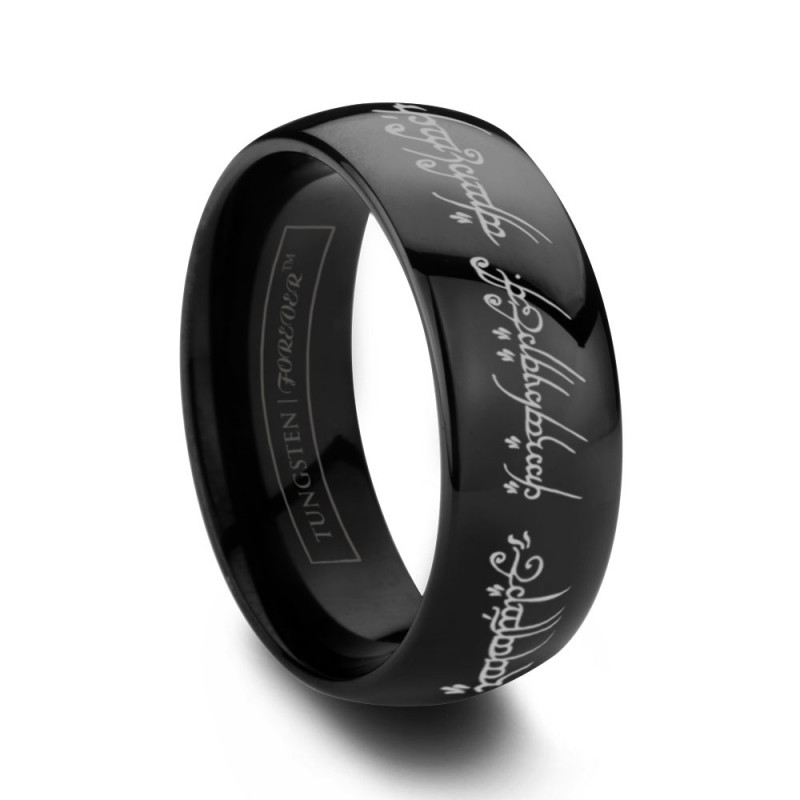 lotr lord of the rings engraved tungsten band - Lotr Wedding Ring