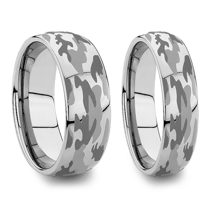 6mm And 8mm Matching Camo Wedding Bands Engraved Military