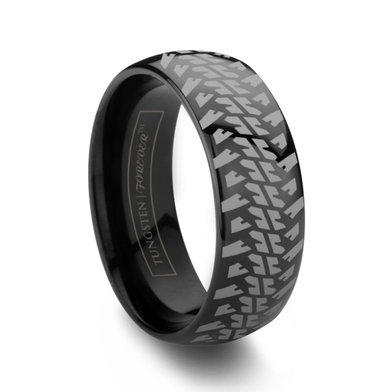 Tire Wedding Rings >> 6mm 8mm Domed Tire Tread Black Tungsten Wedding Band