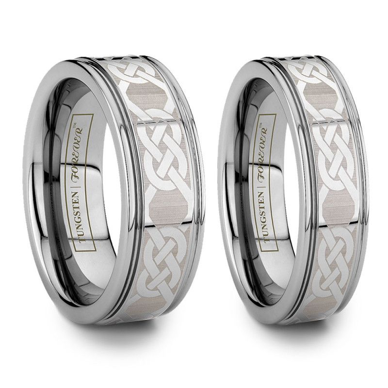 6mm 8mm Grooved Celtic Knot Tungsten Wedding Band Set