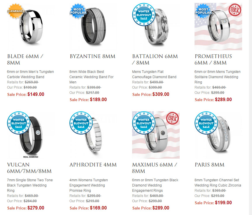Shop All Tungsten Rings for Him and Her